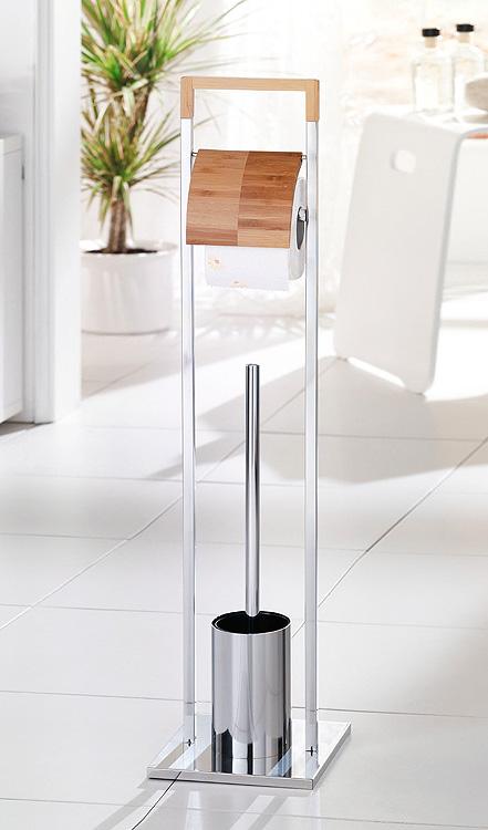 bambus chrom wc garnitur papierhalter toilettenb rste klob rste b rste ebay. Black Bedroom Furniture Sets. Home Design Ideas