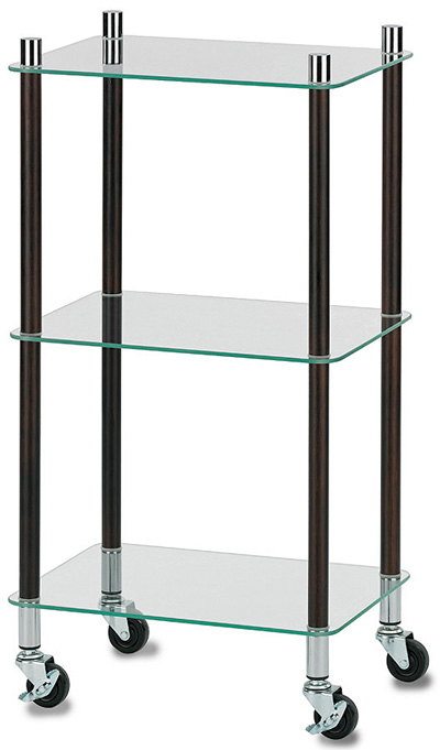 badwagen rollwagen rollcontainer 3 ablagen chrom glas regal ablage badregal ebay. Black Bedroom Furniture Sets. Home Design Ideas