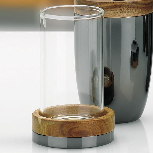 Moon distributeur de savon brosse tasse chrome design for Distributeur de savon salle de bain