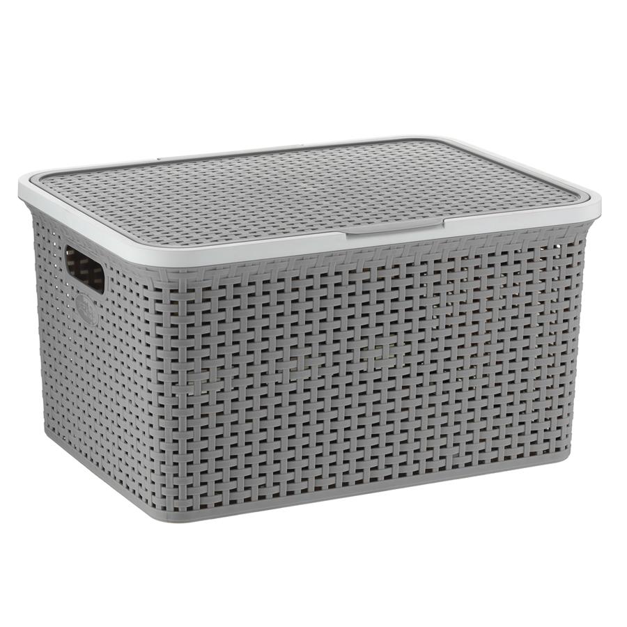 aufbewahrungsbox mit deckel aufbewahrungskiste kiste stapelbox stapelkiste korb. Black Bedroom Furniture Sets. Home Design Ideas