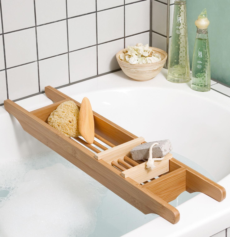 Bagno ripiano vasca da bagno legno di bamb supporto vasca - Supporto per vasca da bagno ...