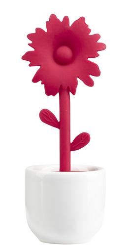 tee ei blume blumentopf teesieb keramik wei silikon. Black Bedroom Furniture Sets. Home Design Ideas