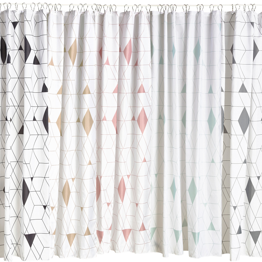 design shower curtain with metal eyelets bath screen white